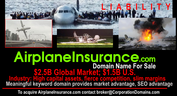 AirplaneInsurance.com domain for business url in aviation insurance market