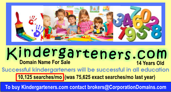 Kindergarteners.com Domain Name for sale for early learning education market