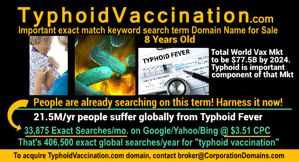 Image for TyphoidVaccinations.com url for sale
