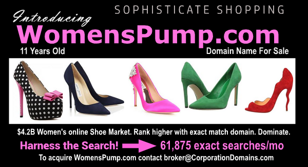 Womens pumps ecommerce domain name for sale: WomensPump.com